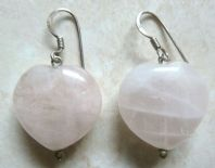 Sterling Silver And Rose Quartz Heart Drop Earrings.